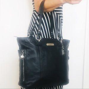 Coach Coach Black Leather Gallery Zipper Tote Bag